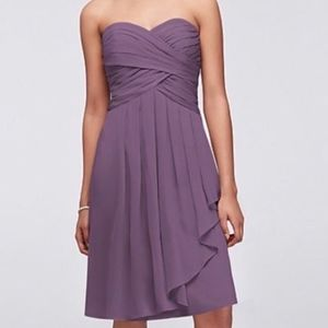 David's Bridal Short Crinkle Chiffon Dress Purple